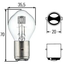 12V 35/35W fényszóró izzó BA20d