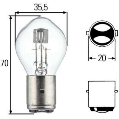 12V 45/40W fényszóró izzó Hella 8GD002084-151 BA20d