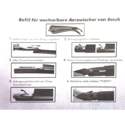 Ablaktörlő gumi hagyományos és új típusú Bosch Aerotwin, penge lapátokhoz, 6,3mm széles 75cm hosszú
